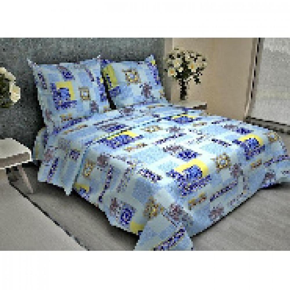Комплект постельного белья 1,5 сп бязь 105 гр/м2 Арабески голубой