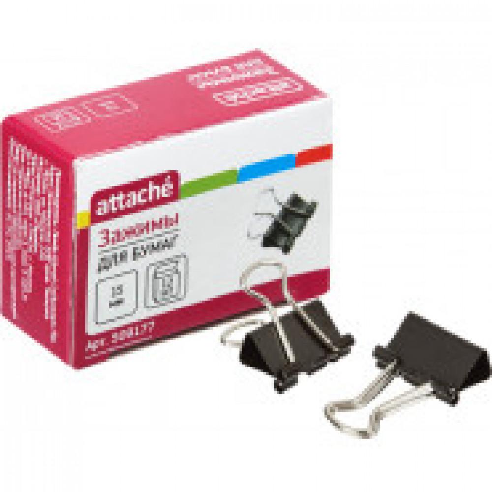 Зажимы для бумаг Attache 15 мм черные (12 штук в коробке)