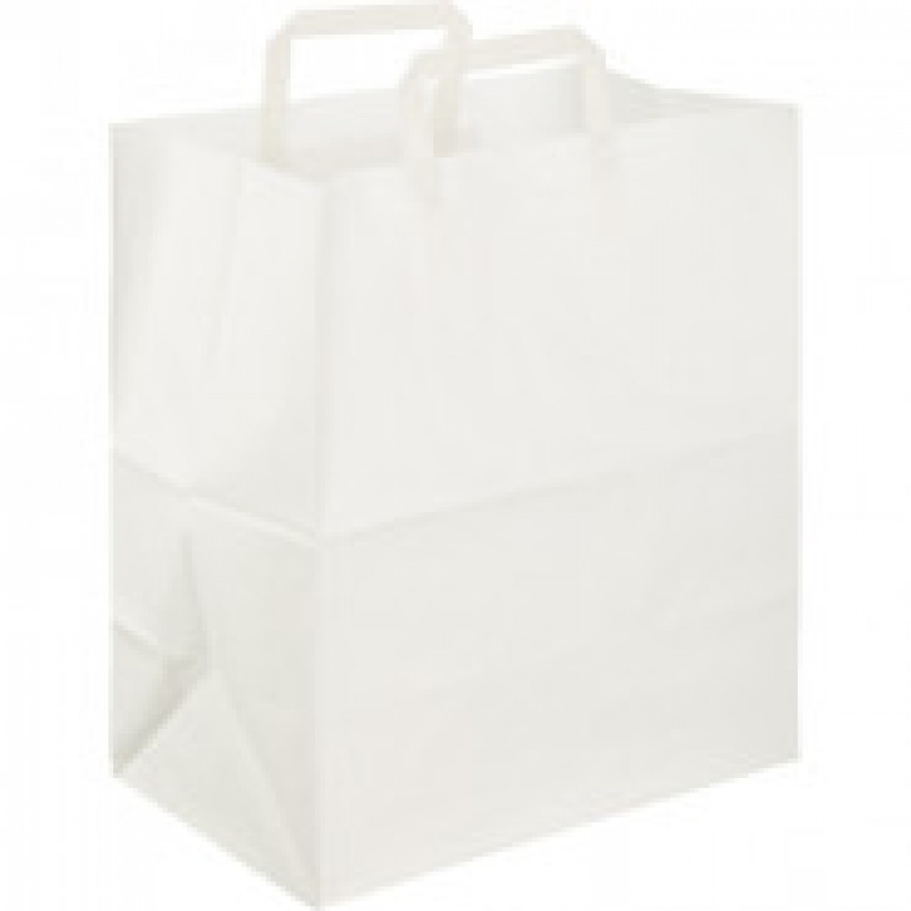 Пакет бум крафт бел с плоской руч 320x200x370мм(ECOCarrBagPLWHITE)200шт/уп