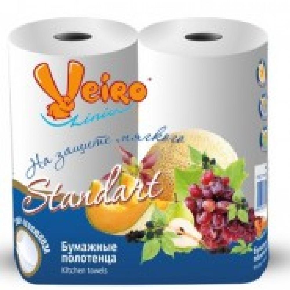 Полотенца бумажные VEIRO  2-сл.,с тиснением, 2рул./уп. 4п22