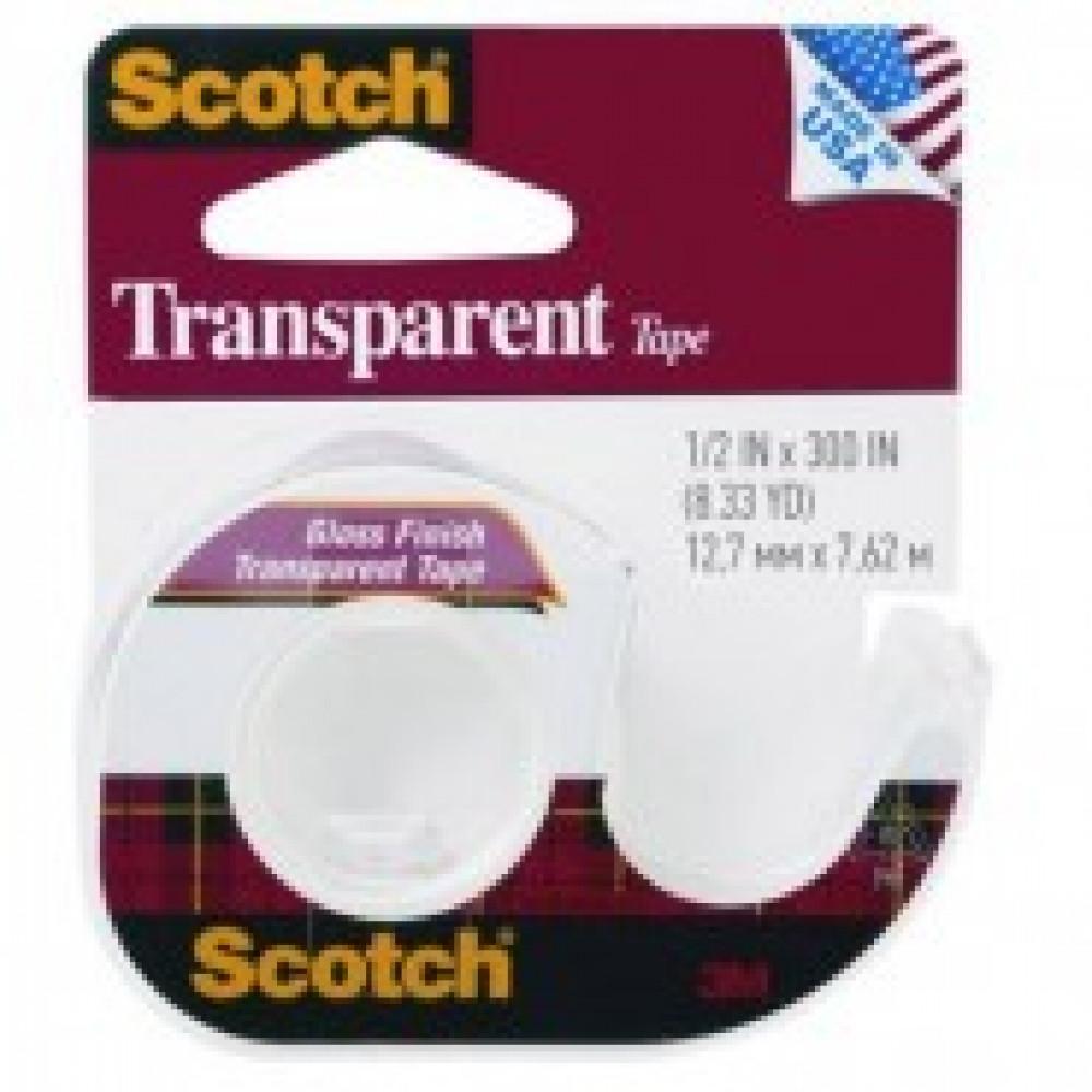 Клейкая лента канцеляр. 3M SCOTCH 144SS-ENG,12,7х7,62 прозрач.,на диспенс.