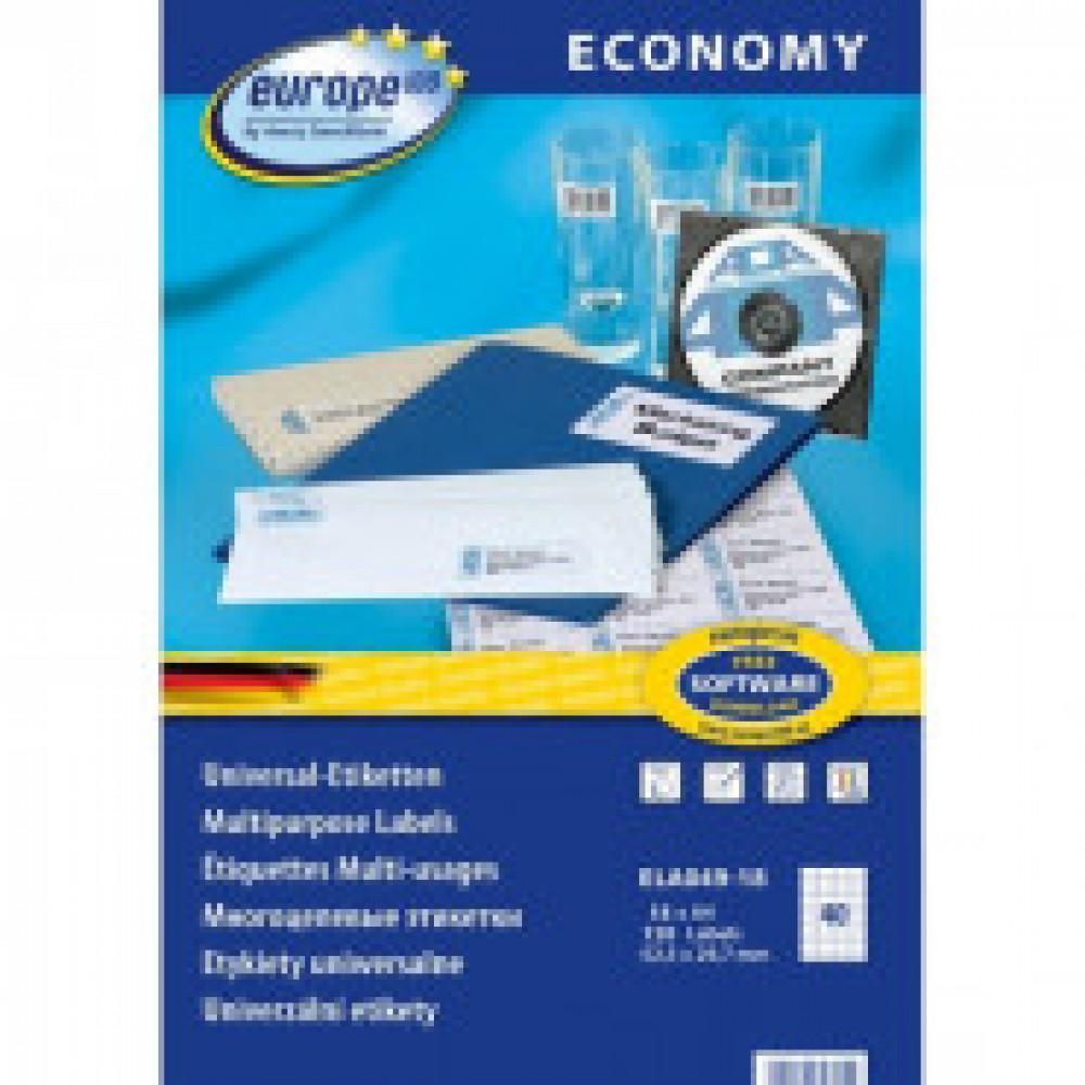 Этикетки самоклеящиеся Europe ELA049-18,52,5x29,7мм,40шт на листеА4 18л/уп.