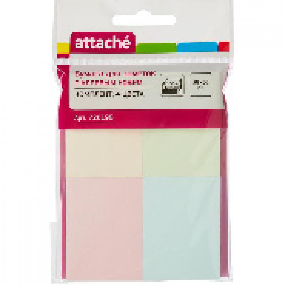 Блок-кубик ATTACHE с клеев. краем 38x51 комплект 4 цвета 100л.