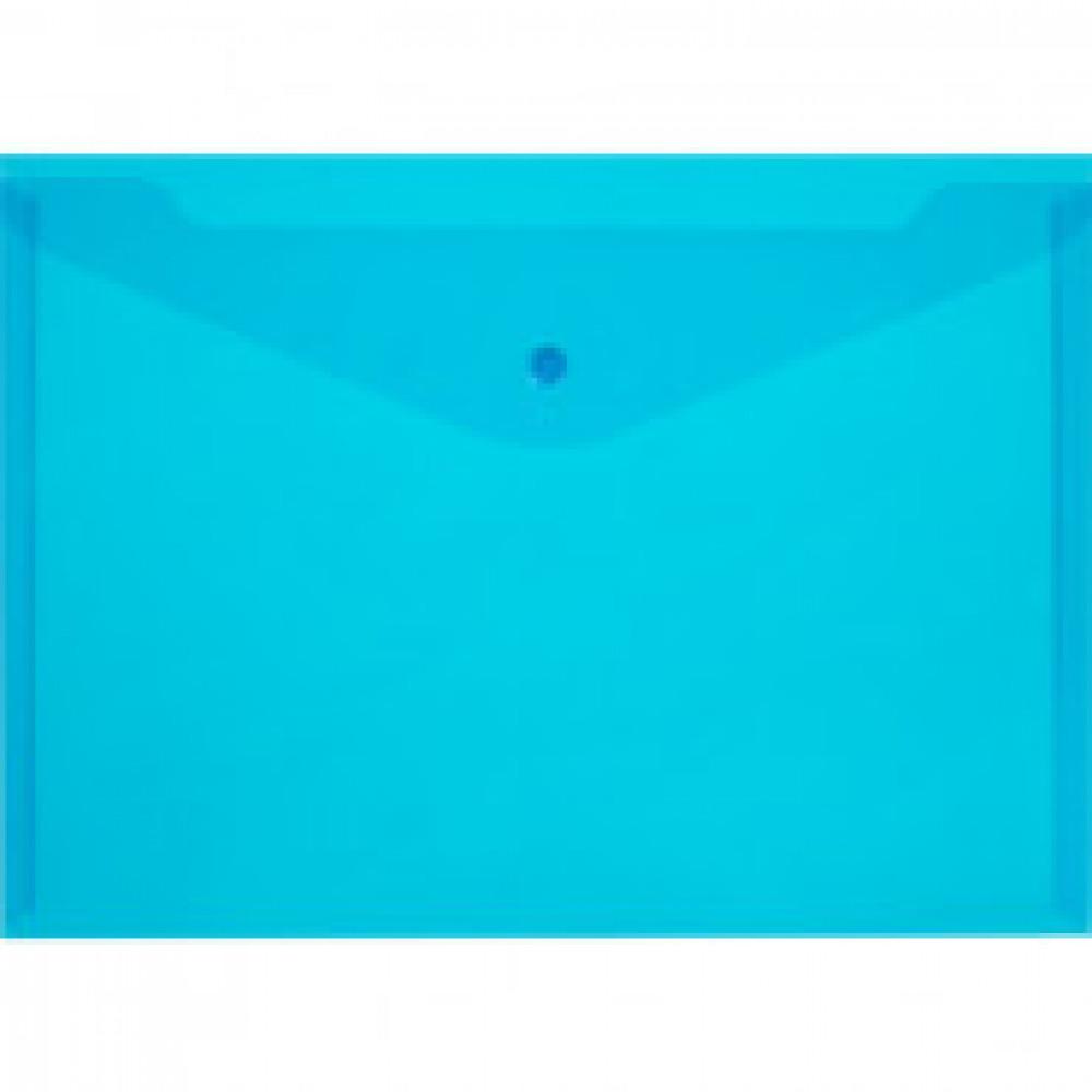 Папка-конверт на кнопке Attache 330x240 мм синяя 150 мкм (10 штук в упаковке)