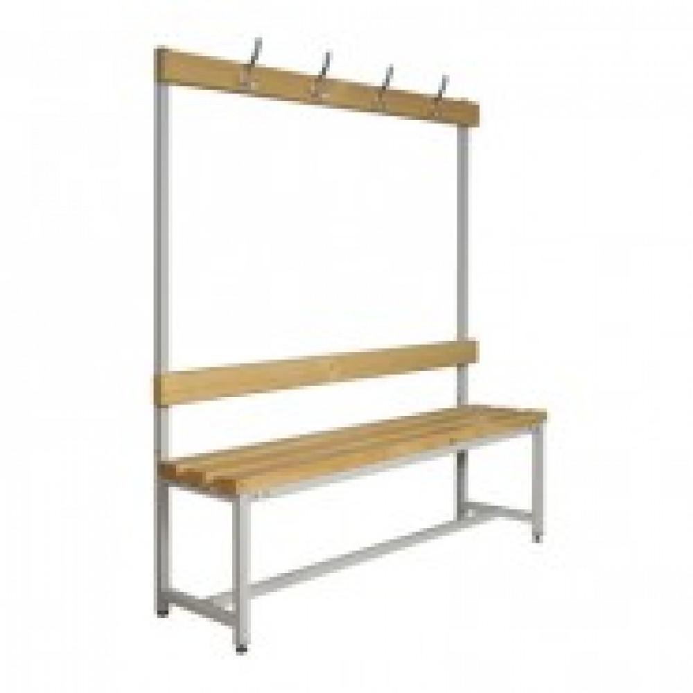 Метал.Мебель К_СК-1В-2000 скамья со спинкой и веш, сосна, 2000х390х1670