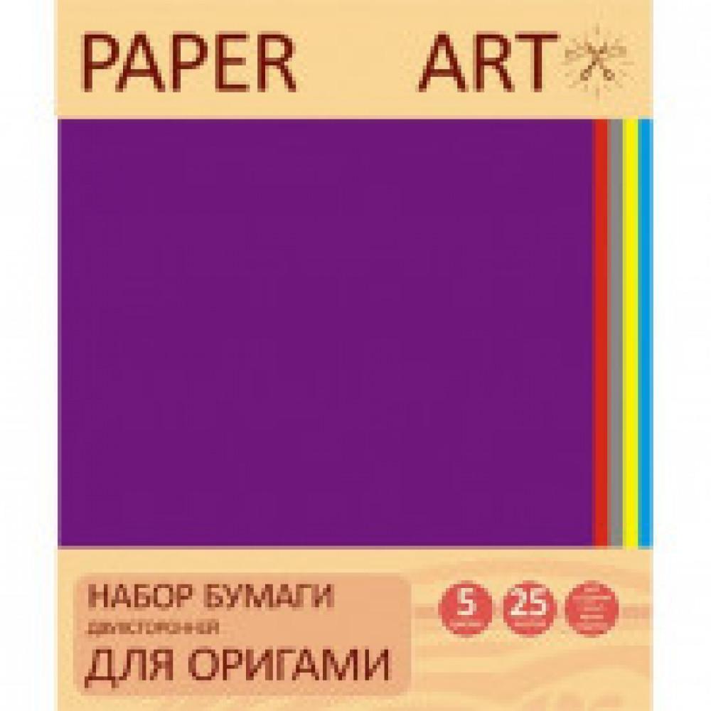 Бумага для творчества двухсторонняя для оригами 25л.5цв.,20х20см.,ЦБО255287