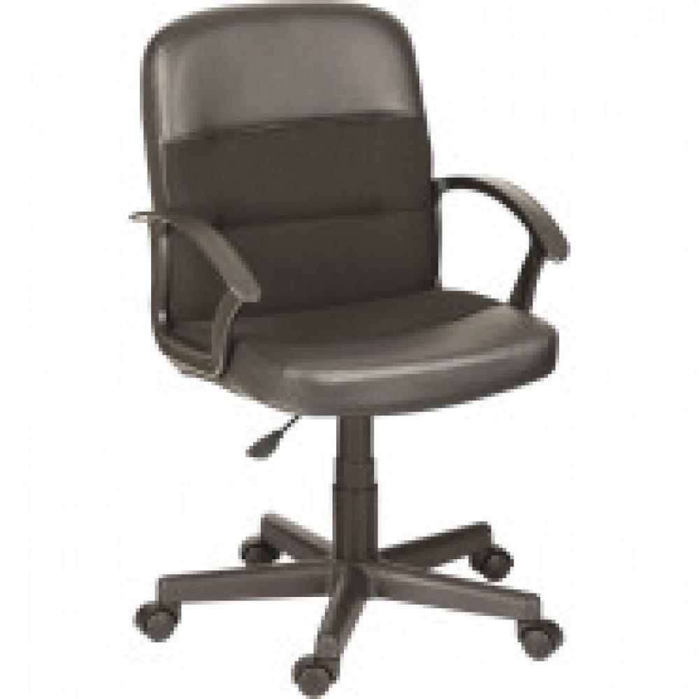 Кресло OL_Вейтон кожзам черный, ткань черная В14, пластик