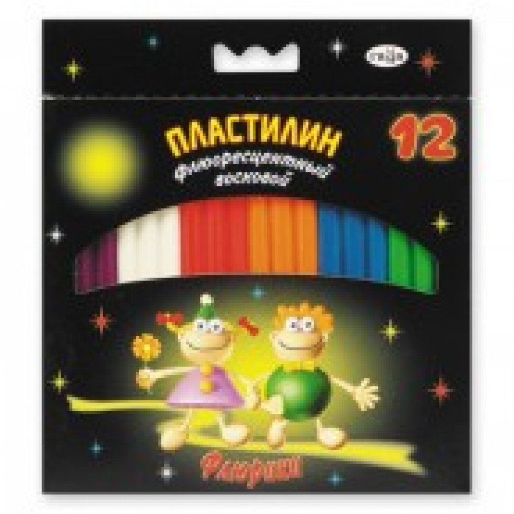 Пластилин Гамма Флюрики 12цв флюор 153гр в к/к