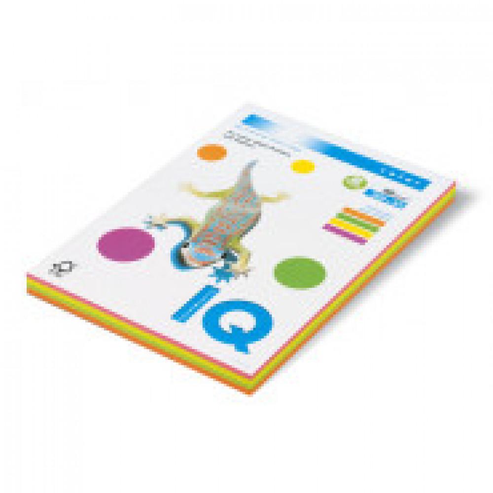 Бумага цветная для печати IQ Color 4 цвета неон RB04 (A4, 80 г/кв.м, 200 листов)