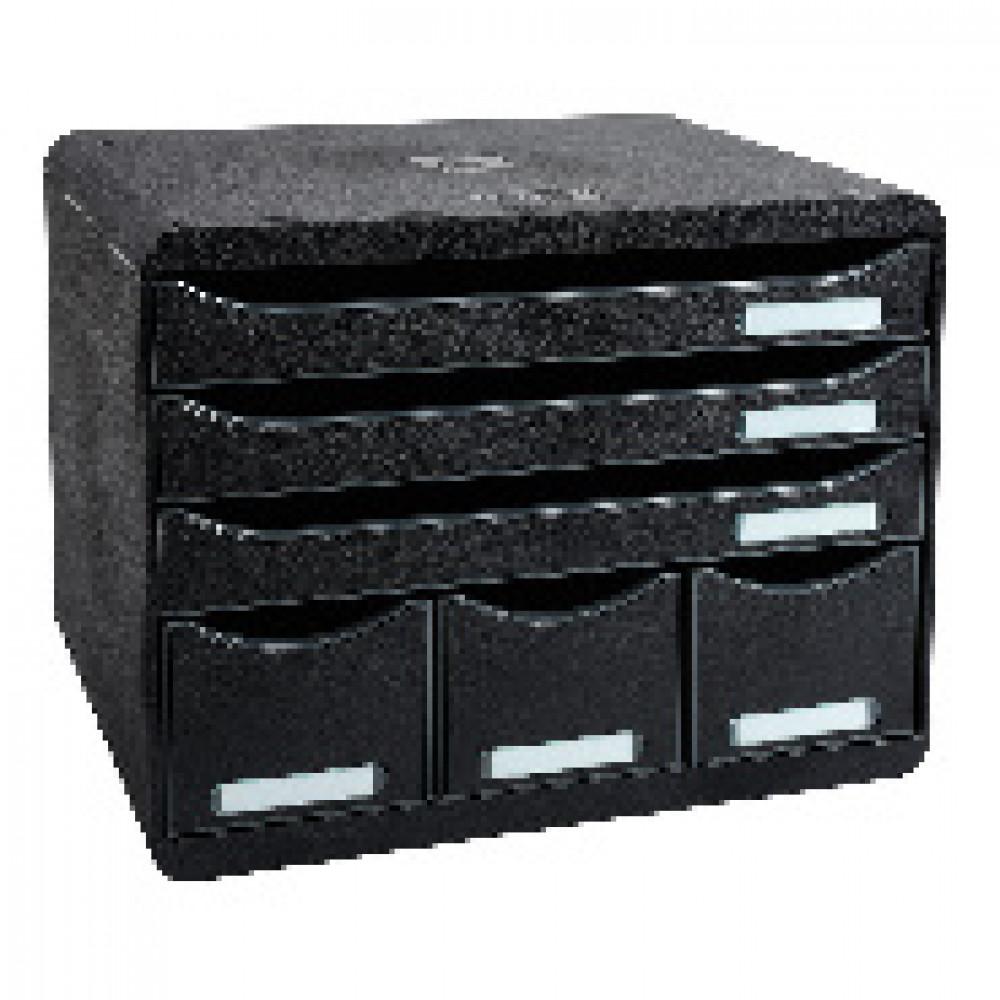Бокс с выдвижными лотками Exacompta Store-Box, 6 лотков, черный