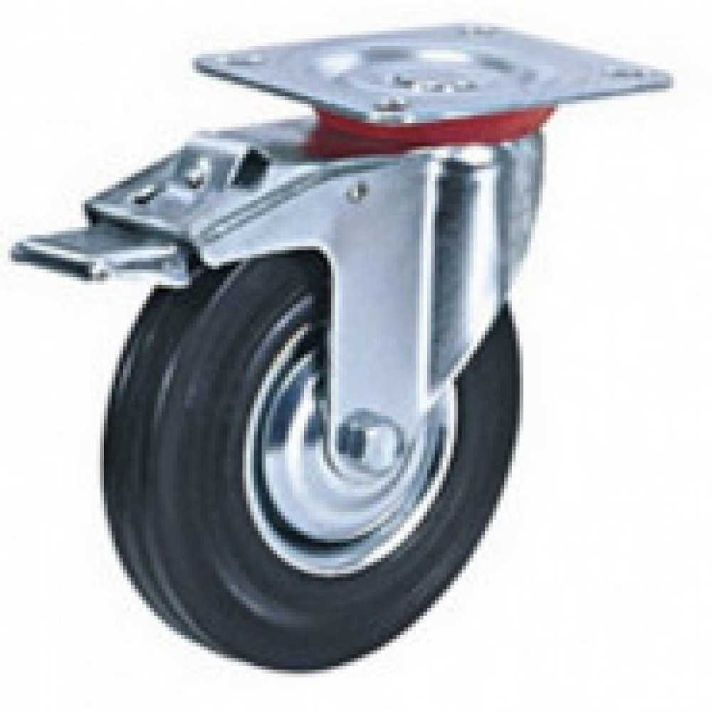 Колесо для тележки поворотное SCb 200 с тормозом 200 мм
