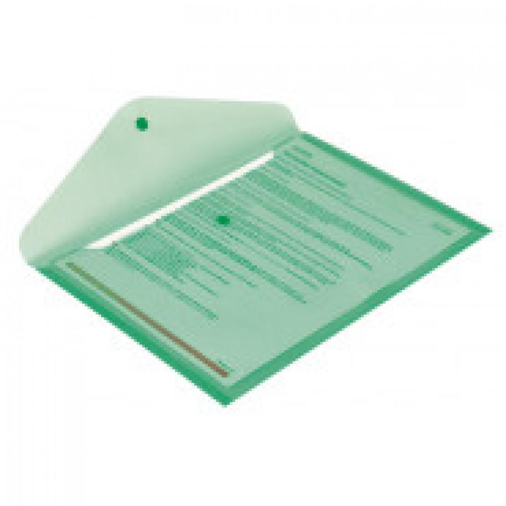 Папка-конверт на кнопке Attache 330x240 мм зеленая 180 мкм (10 штук в упаковке)