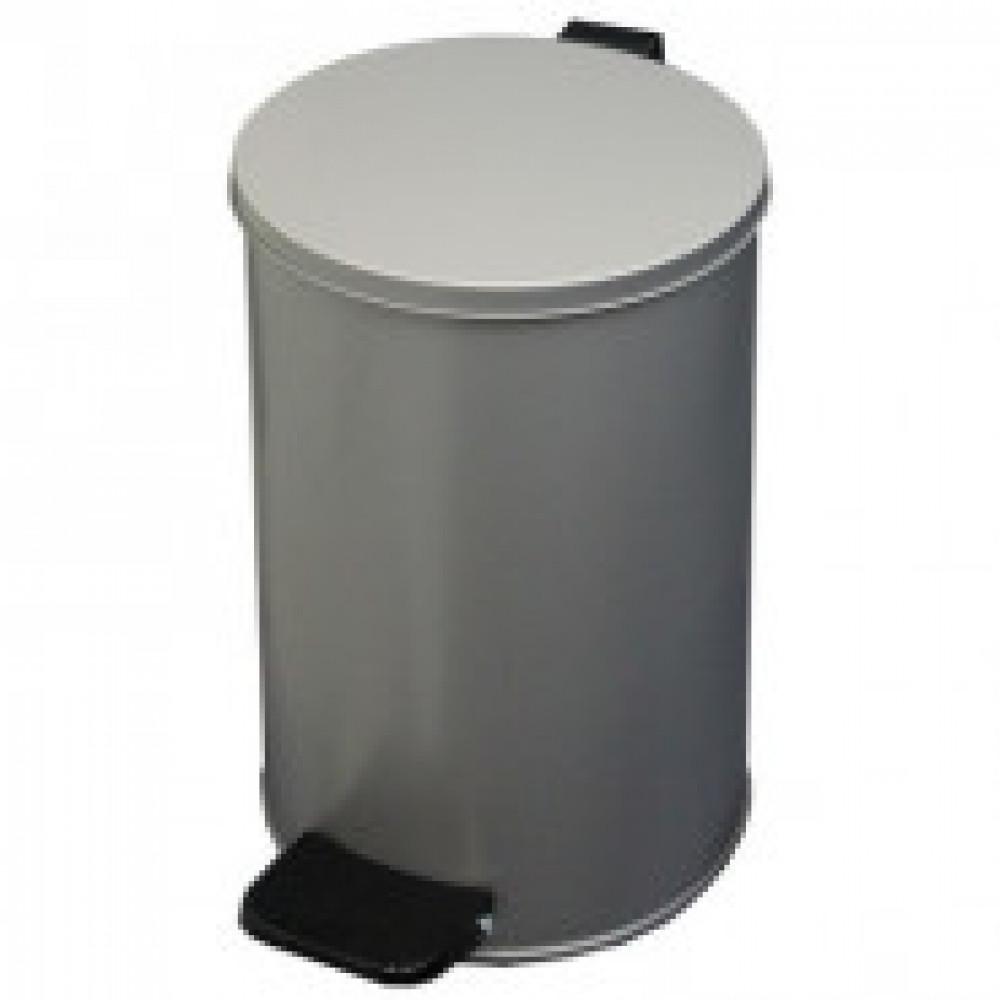 Ведро для мусора с педалью 10 л оцинкованная сталь серое (20х31 см)