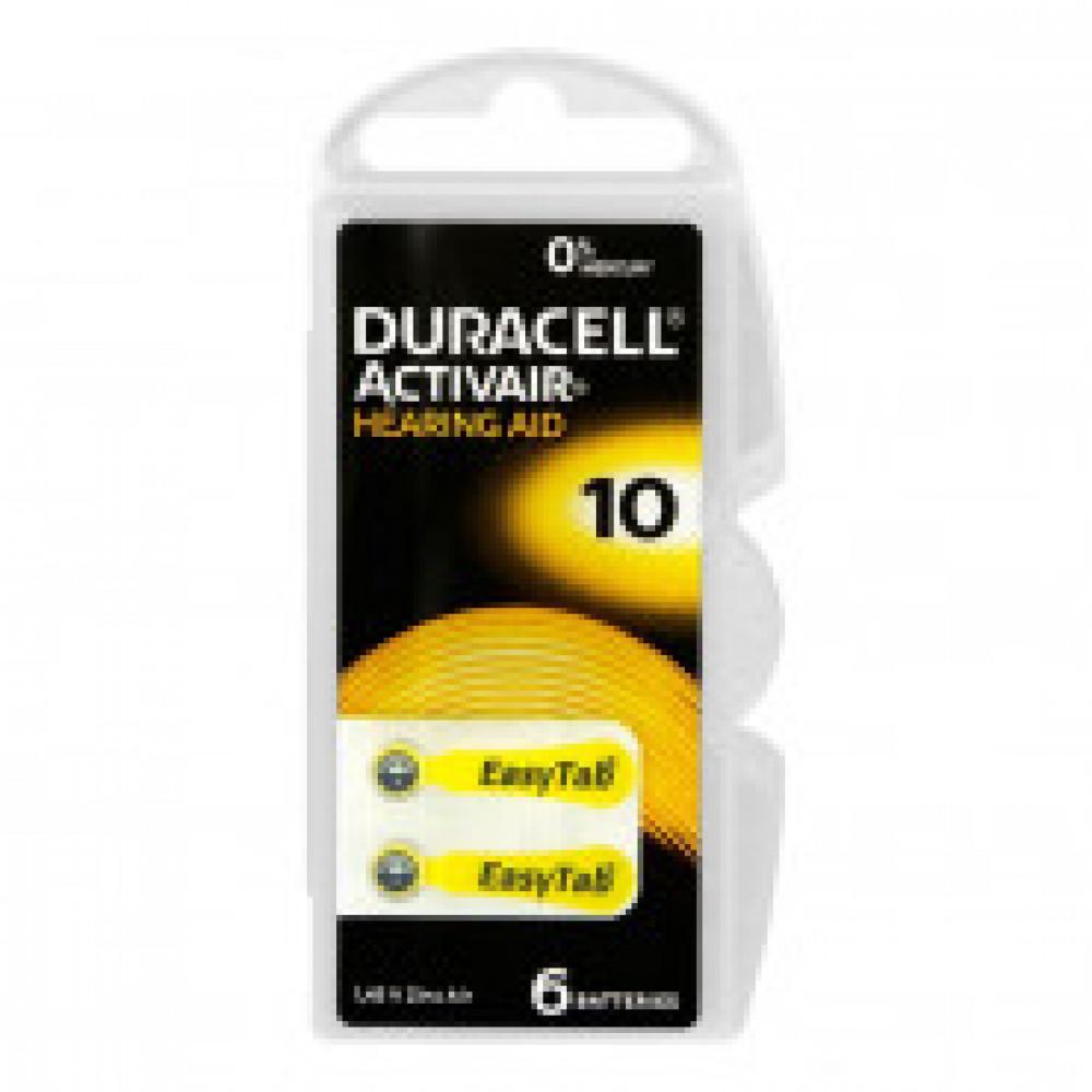 Батарейки Duracell Hearing Aid ZA10/PR70 (6 штук в упаковке)