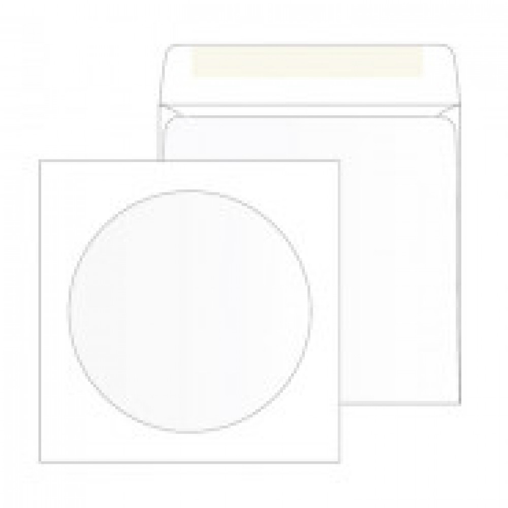 Конверты Белый CD декстрин 125х125 окно d100мм 25шт/уп/4573