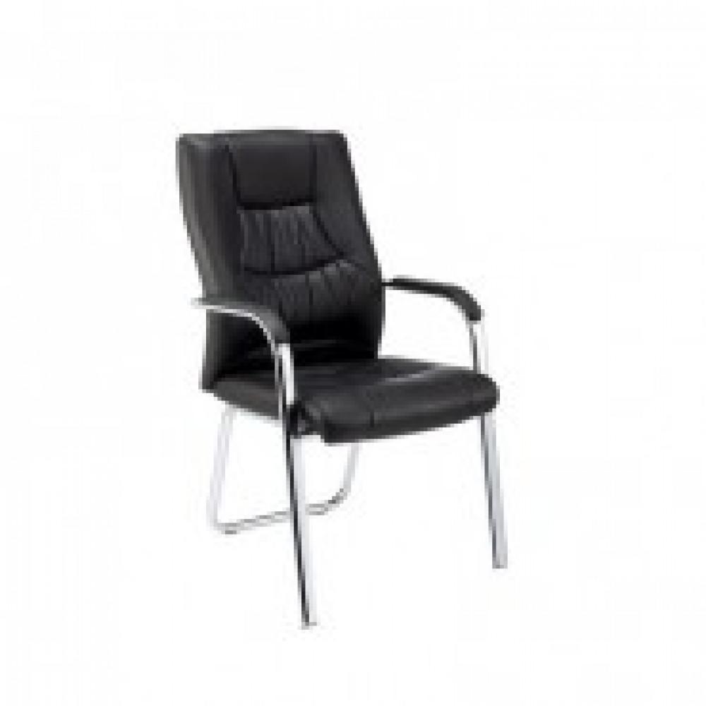 Кресло BN_TQ_конференц Echair-807 VPU кожзам черный, хром