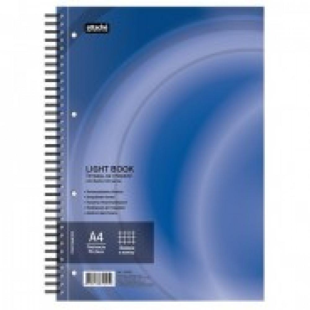 Бизнес-тетрадь 100л,кл,А4,LightBook,спираль,обл.синий,блок белый 70г/м