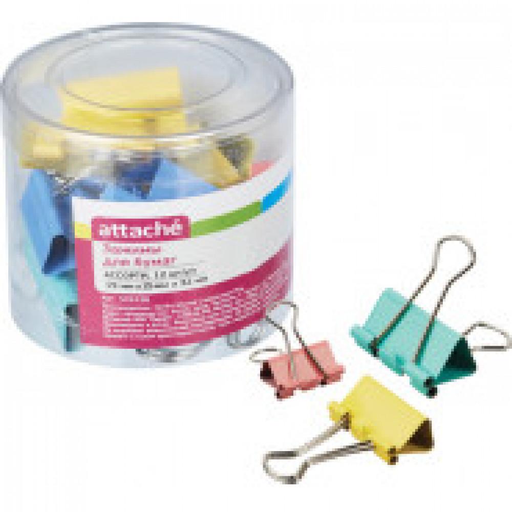 Зажимы для бумаг Attache 19/25/32 мм цветные (12 штук в упаковке)
