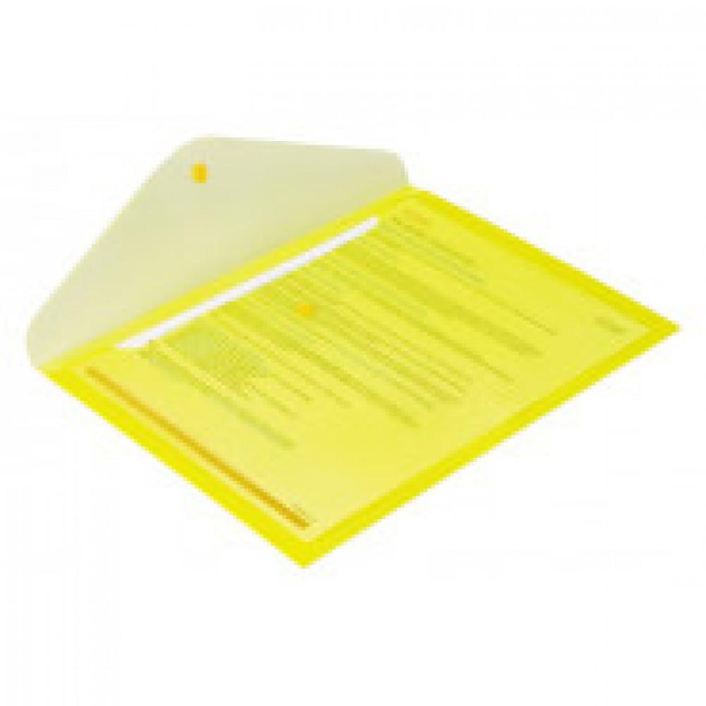 Папка-конверт на кнопке Attache 330x240 мм желтая 180 мкм (10 штук в упаковке)