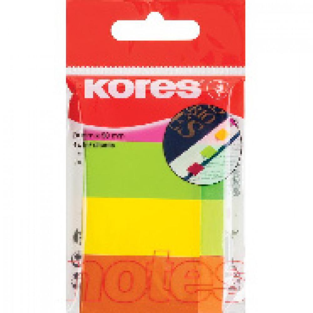 Клейкие закладки бум. 4цв.по 50л. неон 20х50мм Strips Kores 45104