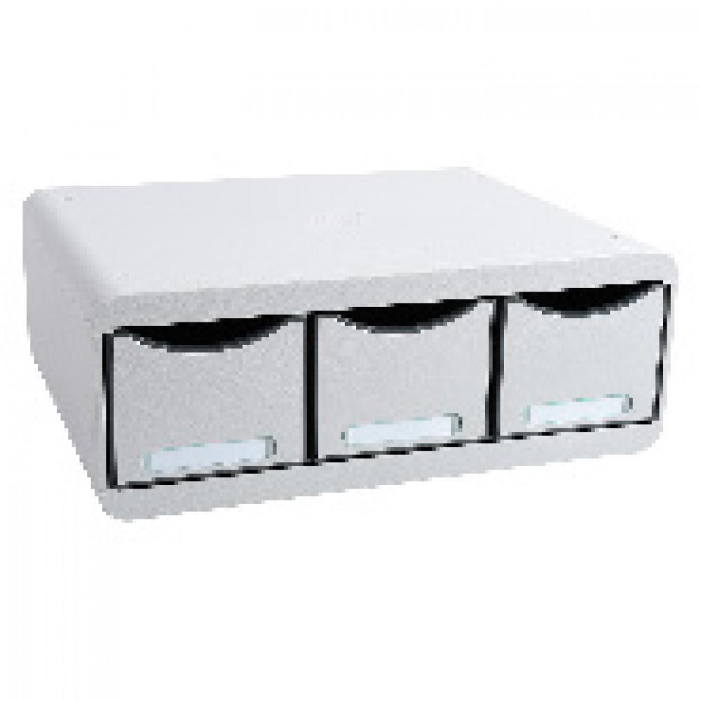 Бокс с выдвижными лотками Exacompta Toolbox Maxi, 3 лотка ,светло-серый