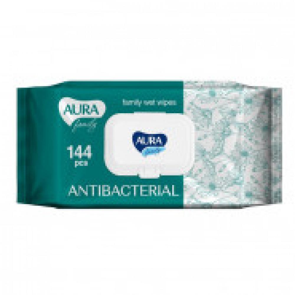 Влажные салфетки антибактериальные Aura Family 144 штуки в упаковке