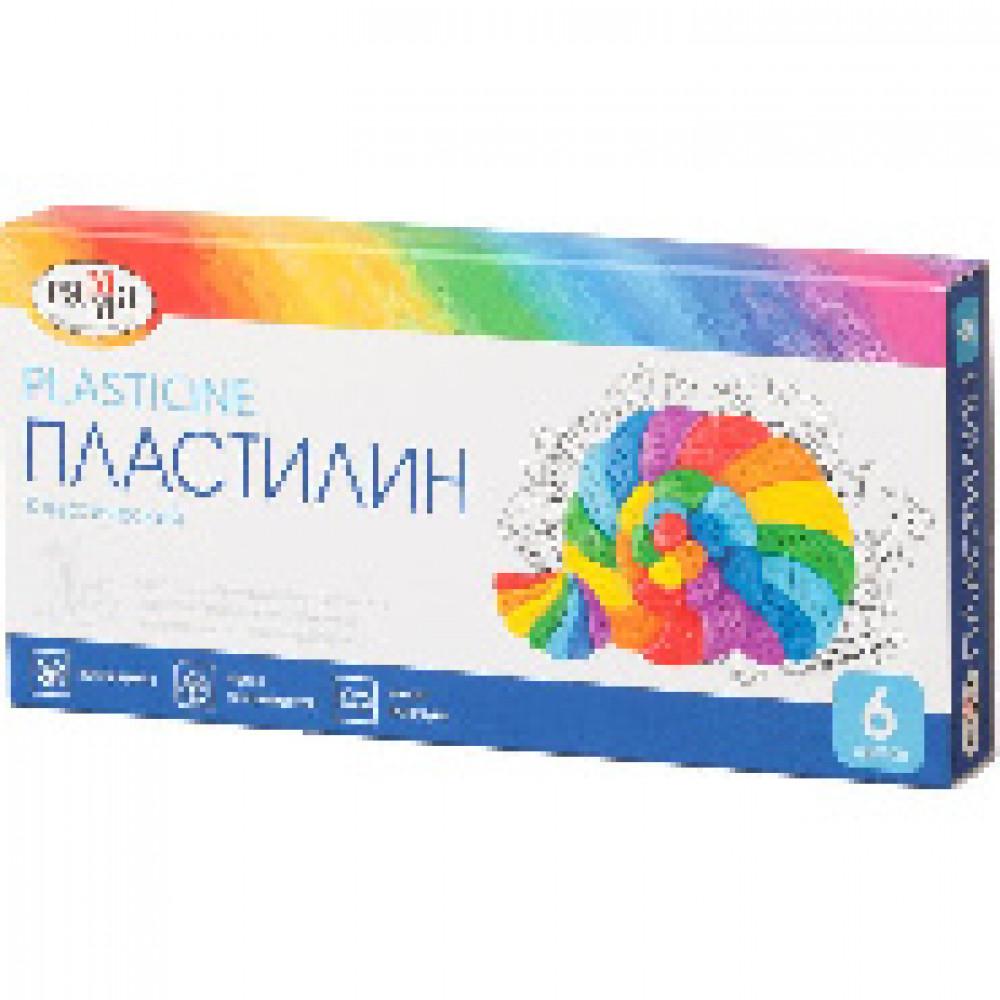 Пластилин Гамма КЛАССИЧЕСКИЙ 6 цв, со стеком, к/к 120г, 281030