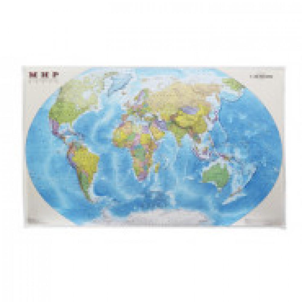 Настенная карта Мир политическая 1:25млн.,1,32х0,85м.основа ДВП валюм.раме
