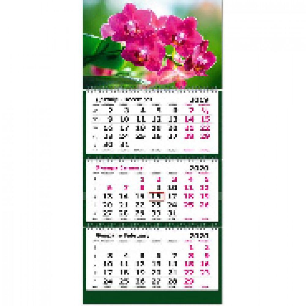 Календарь настен, 2020, 305х675,Орхидеи, 3спир,80г/м2,KB