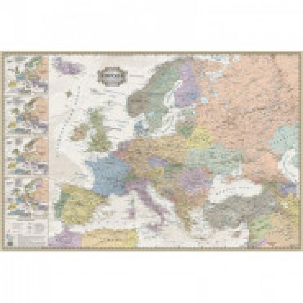 Настенная карта Европа политическая 1:5,3млн.,1,16x0,77м.,ретро стиль
