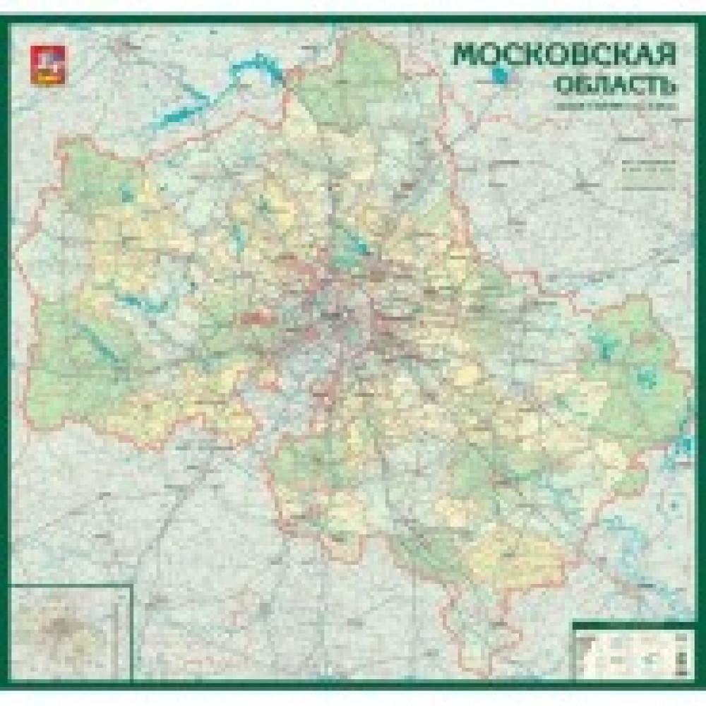 Настенная карта Московская область админ.1:225тыс.,1,5x1,4м.,на отвесах