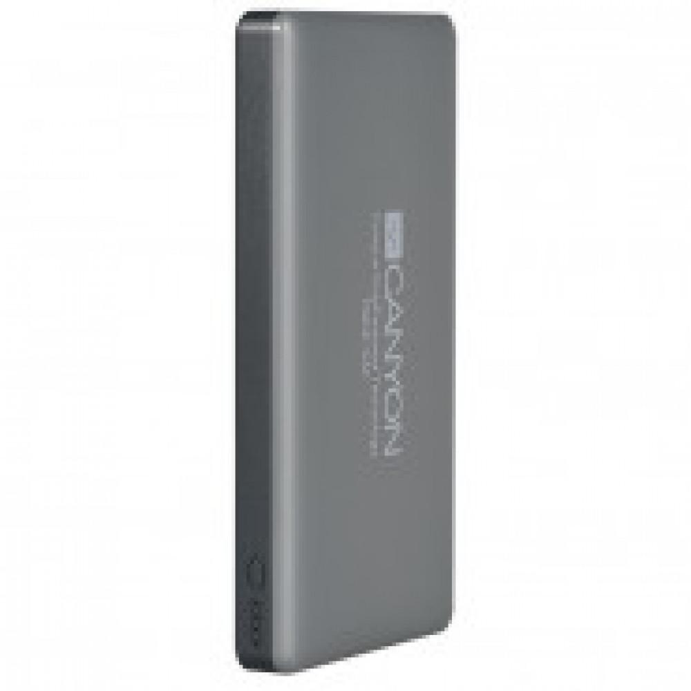 Внешний аккумулятор 15000 mAh, Li-Pol, 2xUSB, Canyon, серый,CNS-TPBP15DG