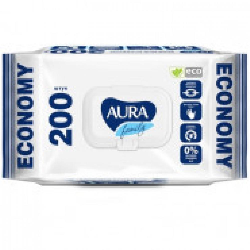 Влажные салфетки универсальные Aura Family 200 штук в упаковке