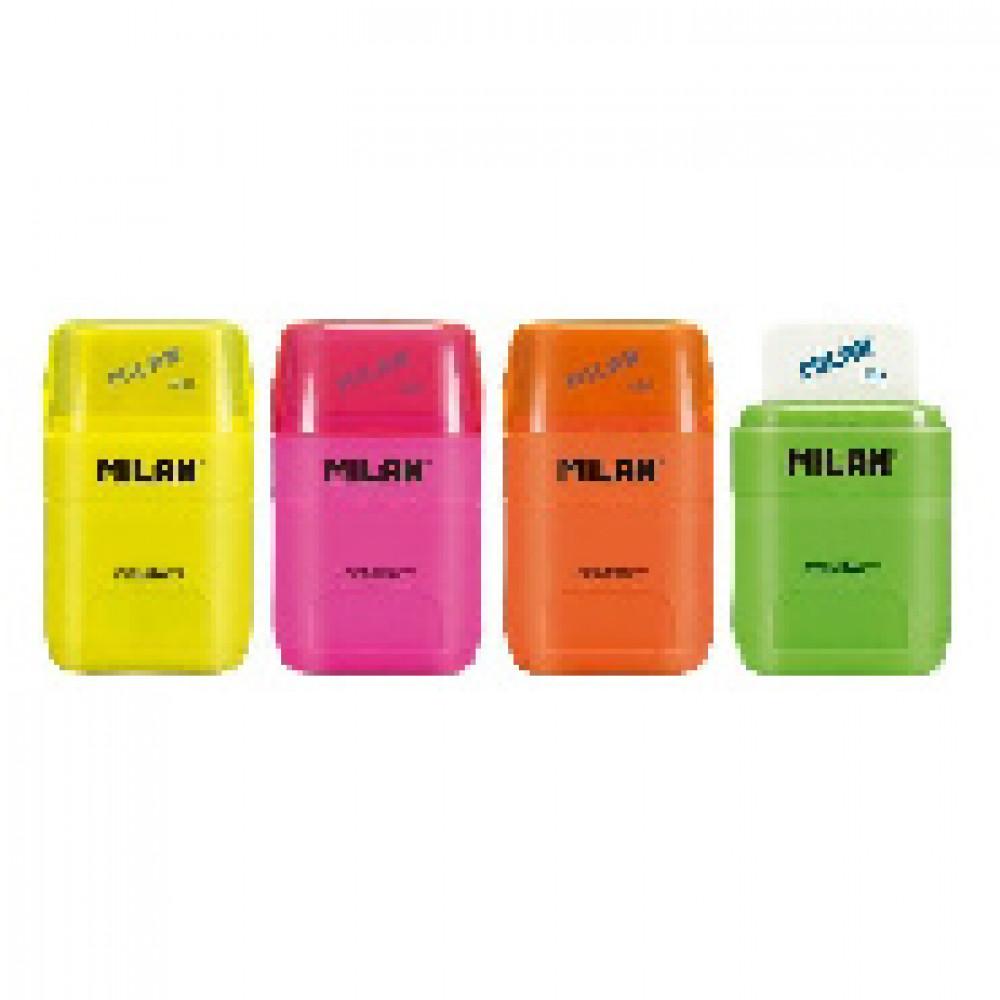 Ластик-точилка Milan COMPACT FLUO, цвет в ассорт., блистер (BYM10380)