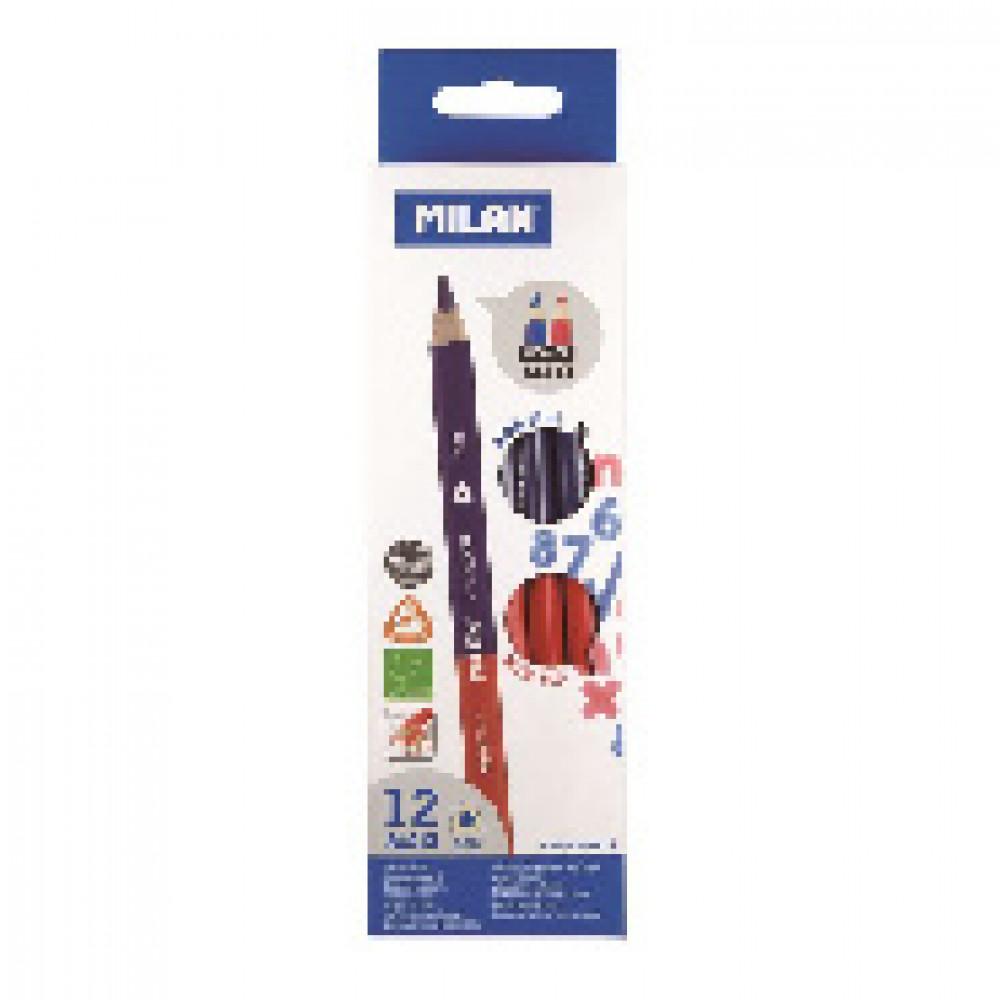 Карандаш двухцветный Milan Maxi красный/синий трехгранный
