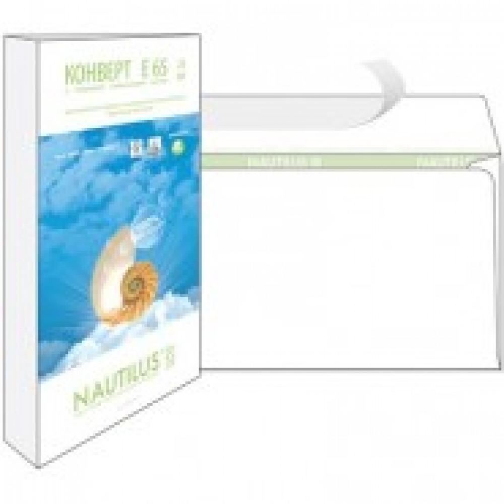 Конверты Nautilus, ЭКО,Е65(110х220мм),стрип, 80г/м2, 25шт/уп