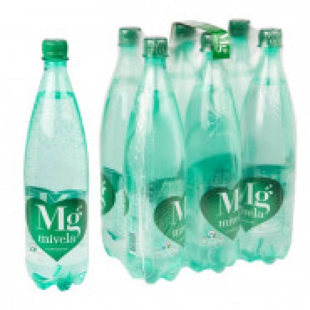 Вода минеральная Mivela Mg++ газированная 1 л (6 штук в упаковке)