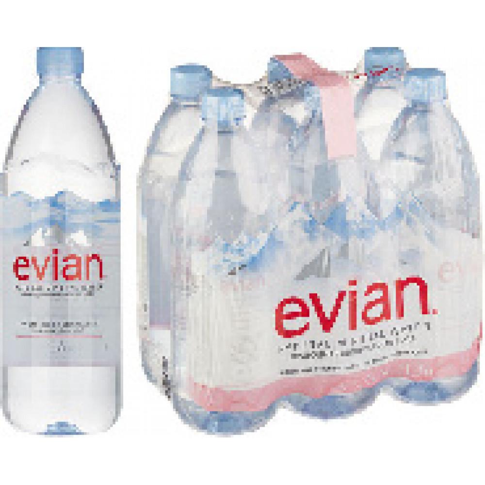 Вода минеральная Evian негазированная 1 л (6 штук в упаковке)
