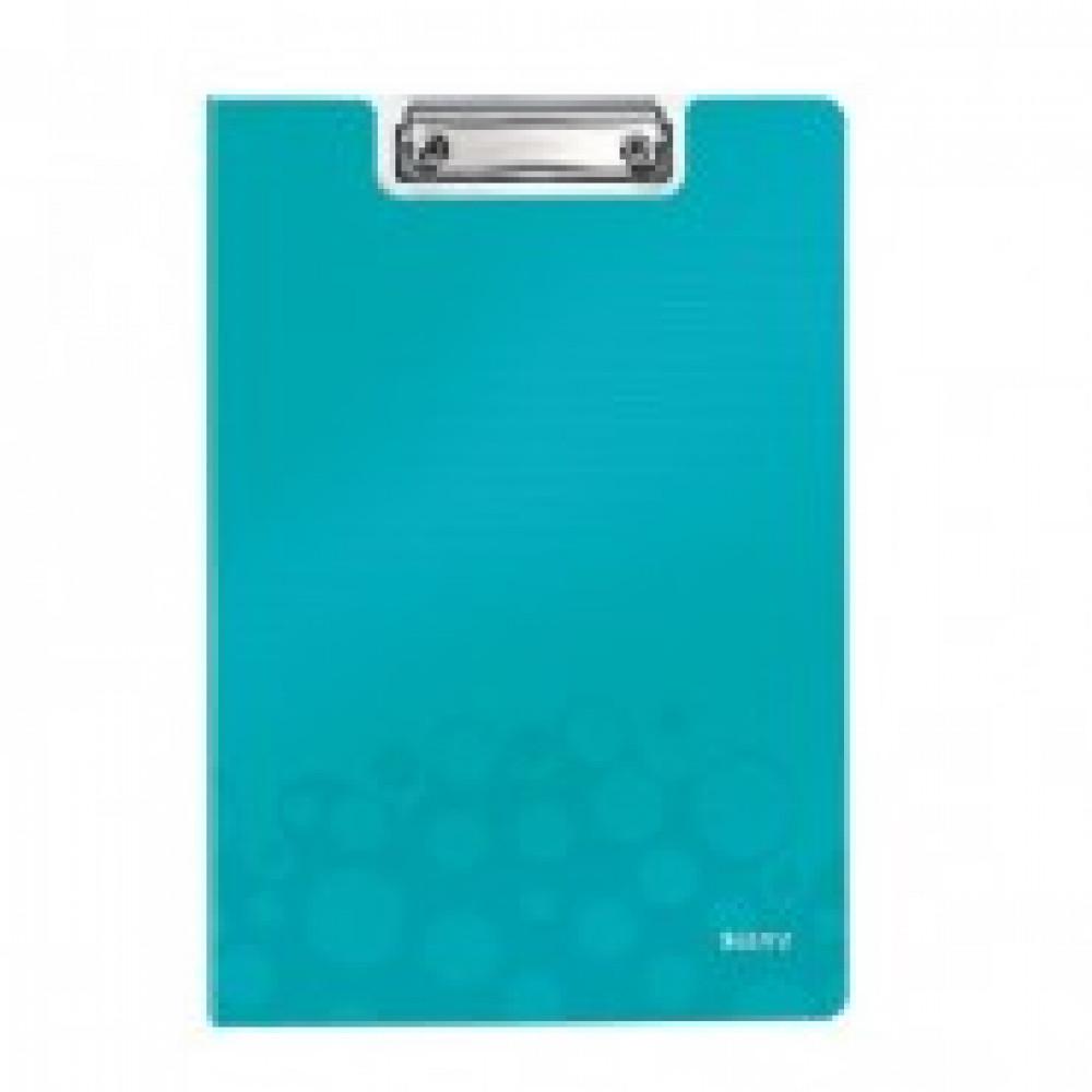 Папка-планшет с зажимом и крышкой Leitz Wow A4 пластиковая бирюзовая