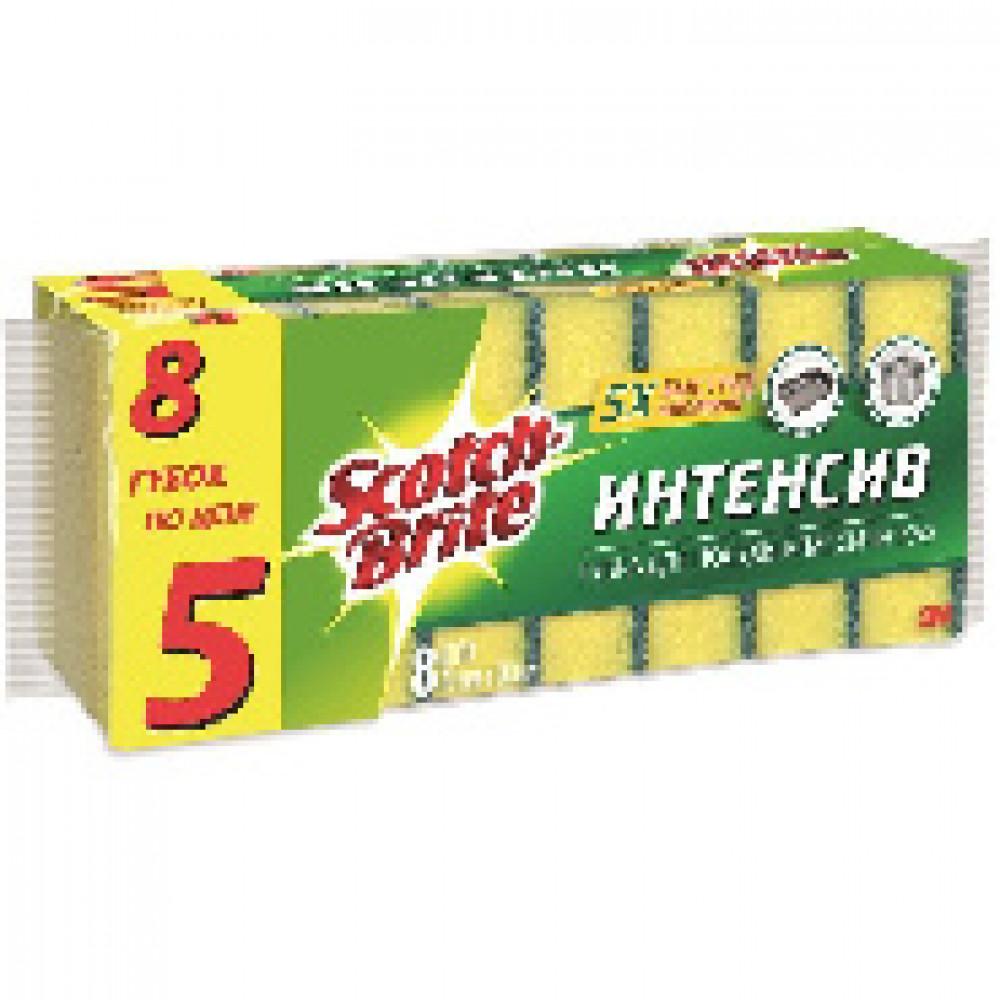 Губка Scotch-Brite классическая ИНТЕНСИВ 70ммх90мм 8 шт/упак HD-F-7090-8