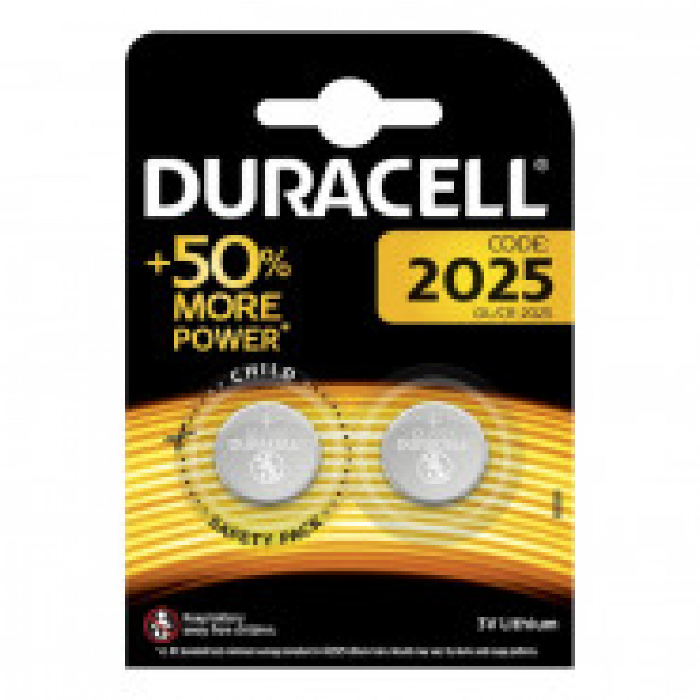 Батарейка DURACELL CR2025 3V Lithium бл/2 CR2025-2BL