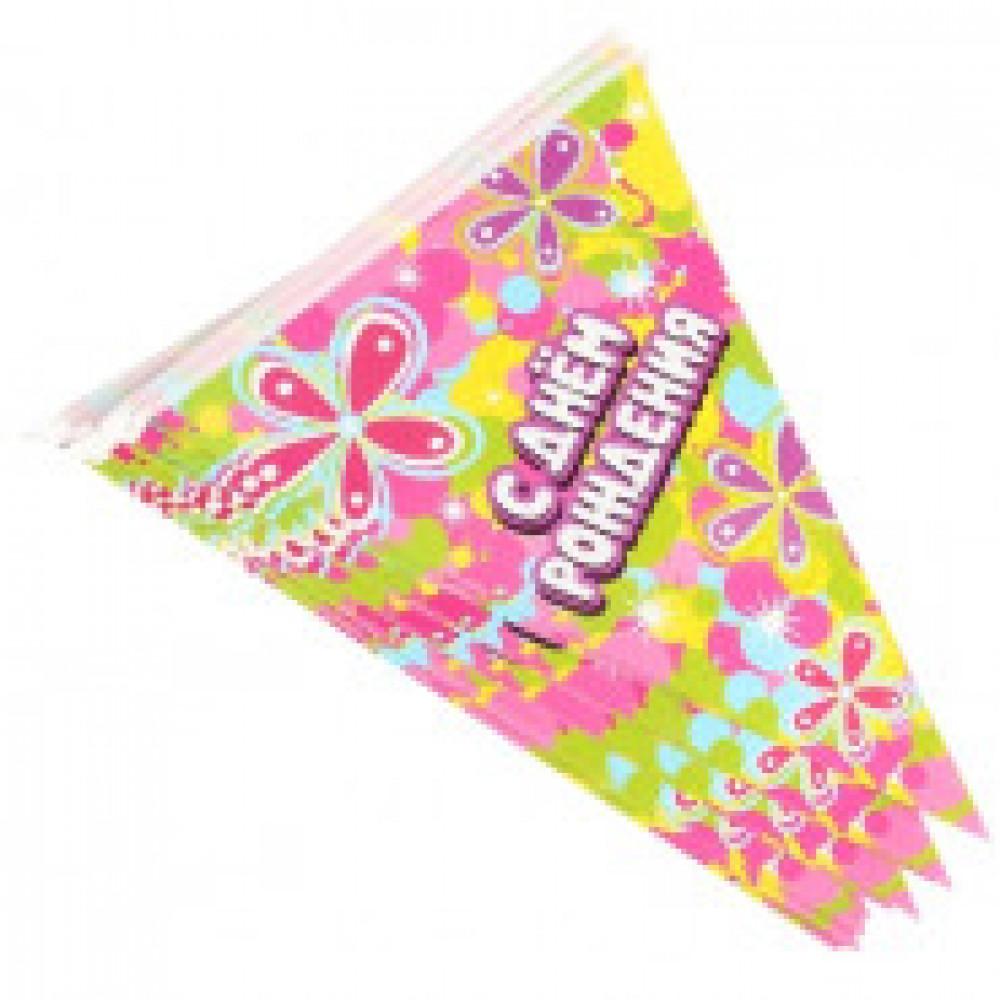 Гирлянда флажки С Днем Рождения!, цветы, 14 флажков, 3 м KL40967
