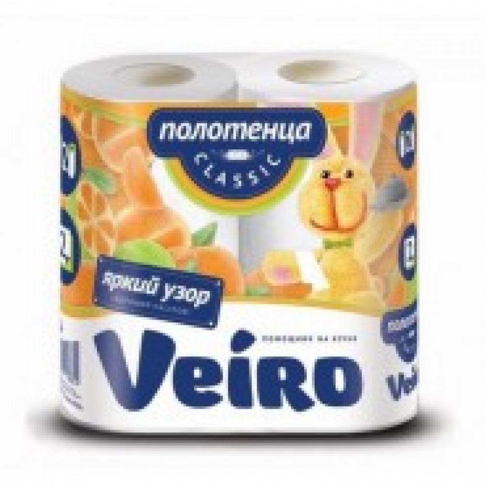 Полотенца бумажные Linia VEIRO Classic 2сл, с цв.тисн.,2рул./уп 5п22д