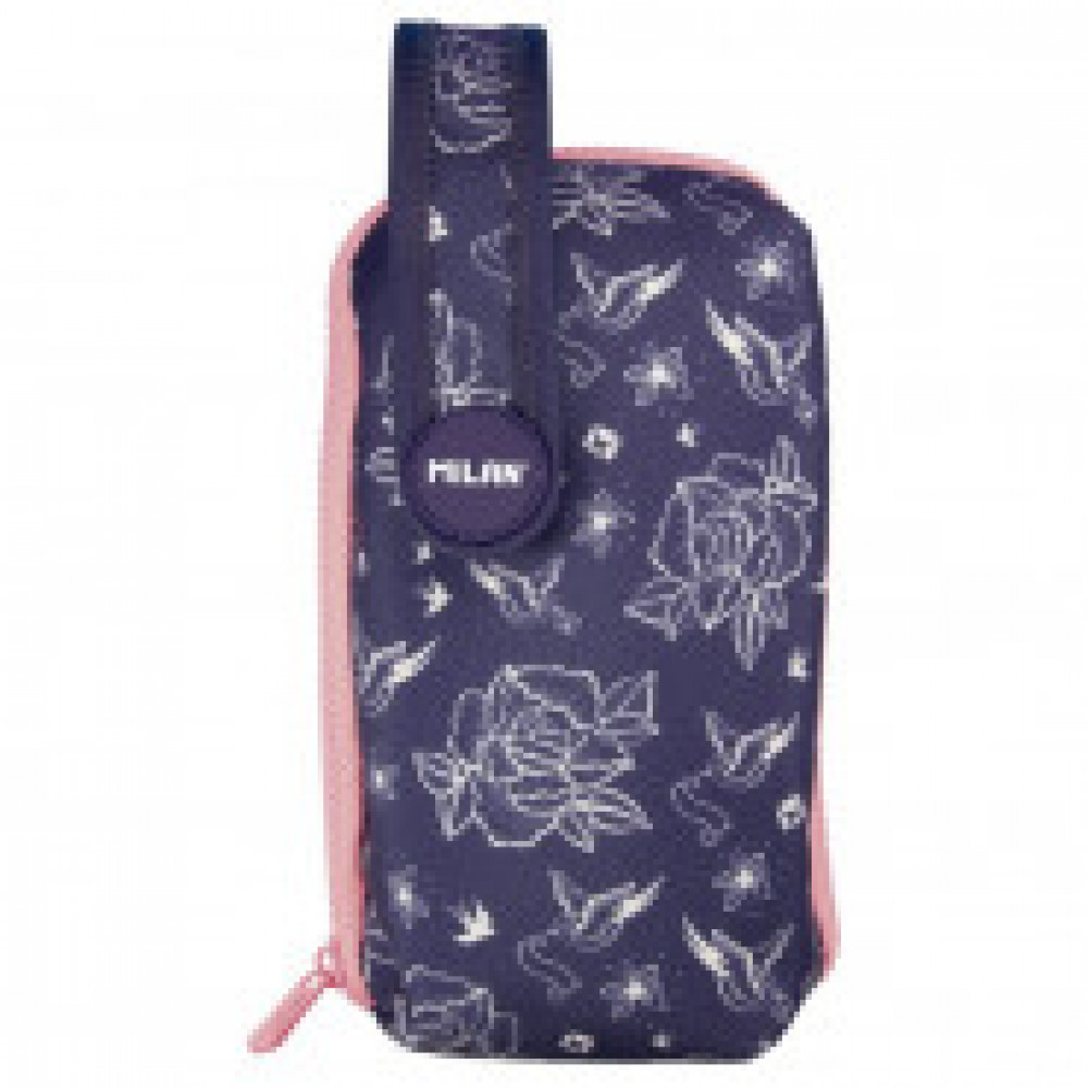 Пенал Flowers Синий на ручке с 4 пен с наполн 19,4x10x8 см, 08871FWB