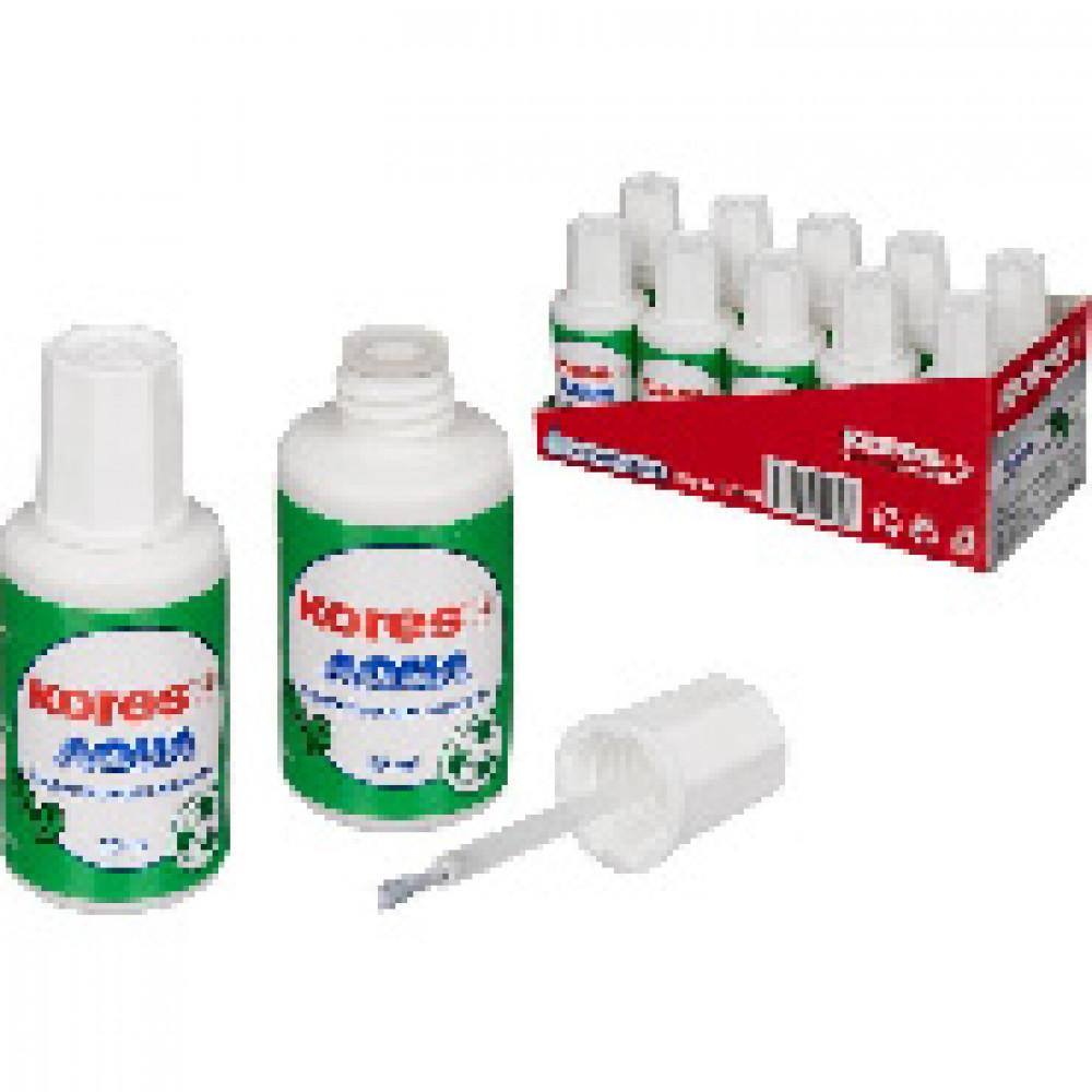 Корректирующая жидкость KORES AQUA 20мл на водной основе, кисточка 69118
