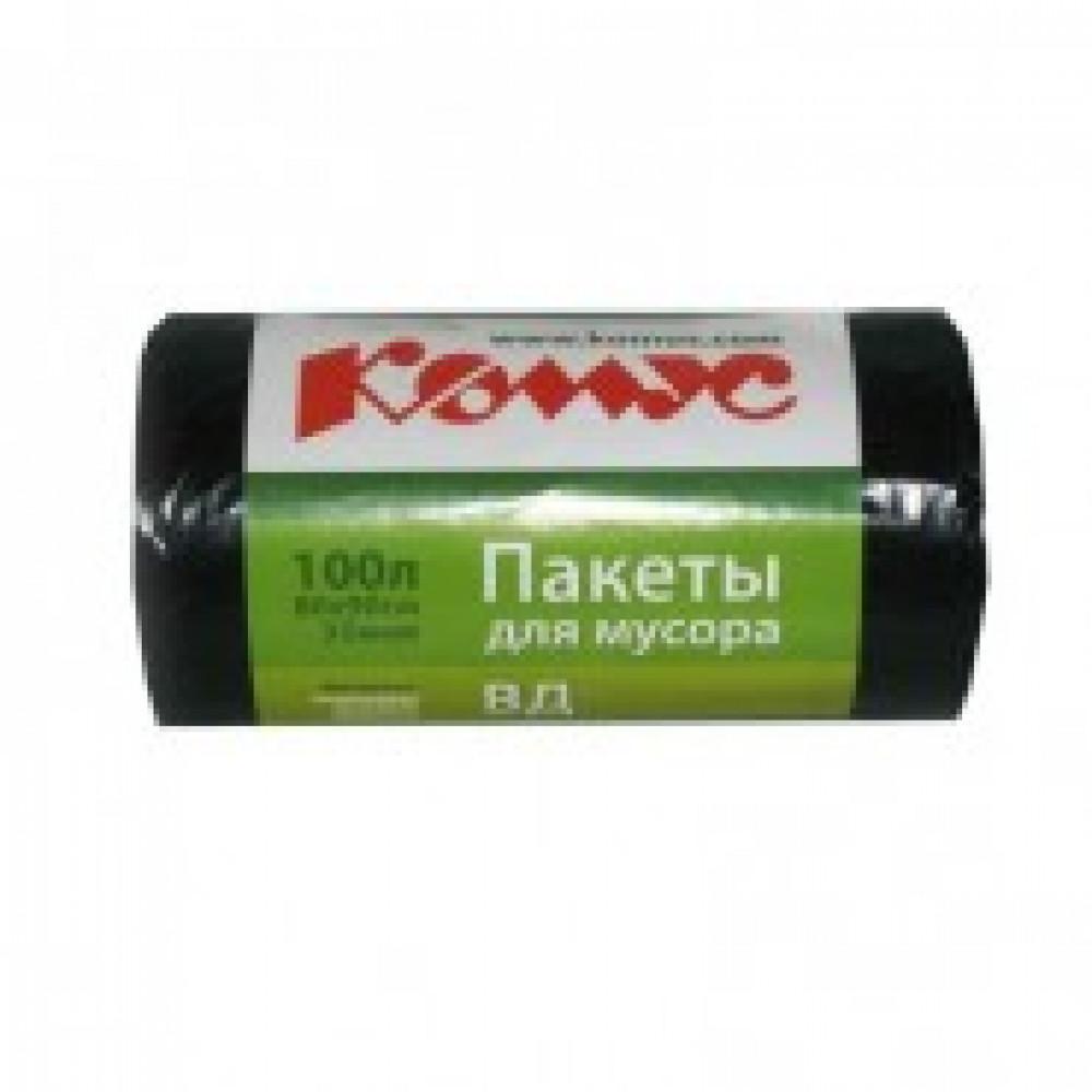 Мешки для мусора ПВД 100л 80x90см 35мкм черные 20шт/рул с ручками Комус