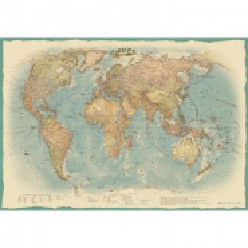 Настенная карта Мир политическая 1:34млн.,1,0х0,7м., ретростиль