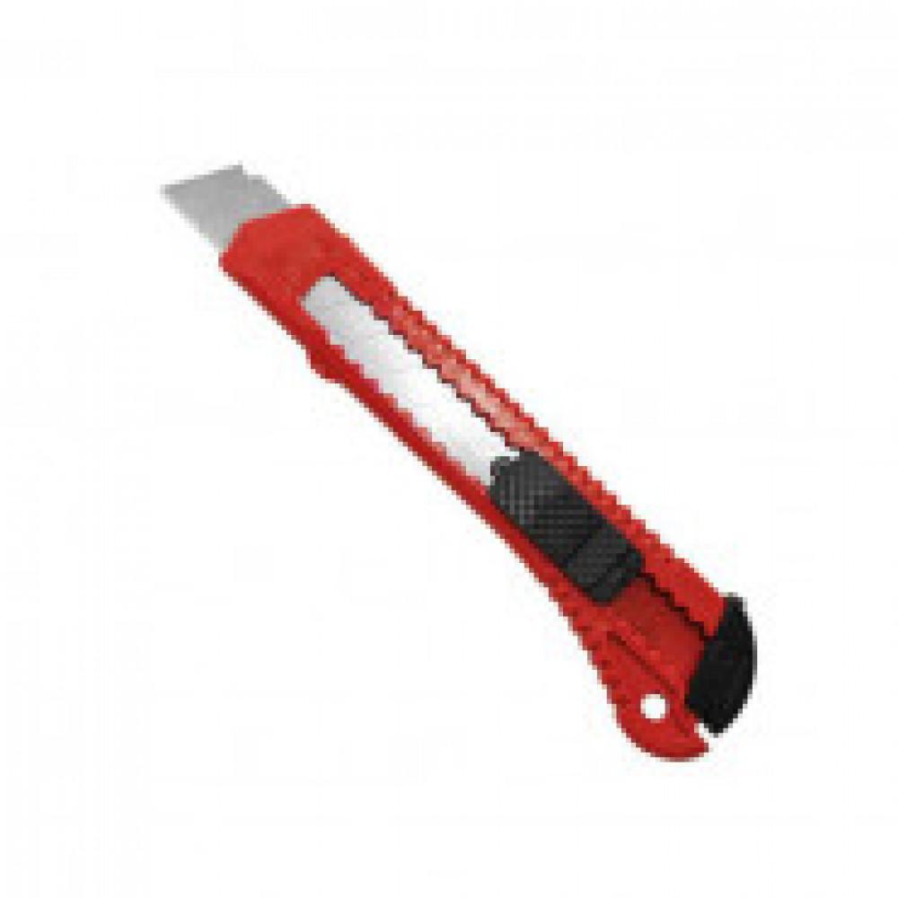 Нож канцелярский 18 мм Attache с фиксатором, полибег, цв.красный