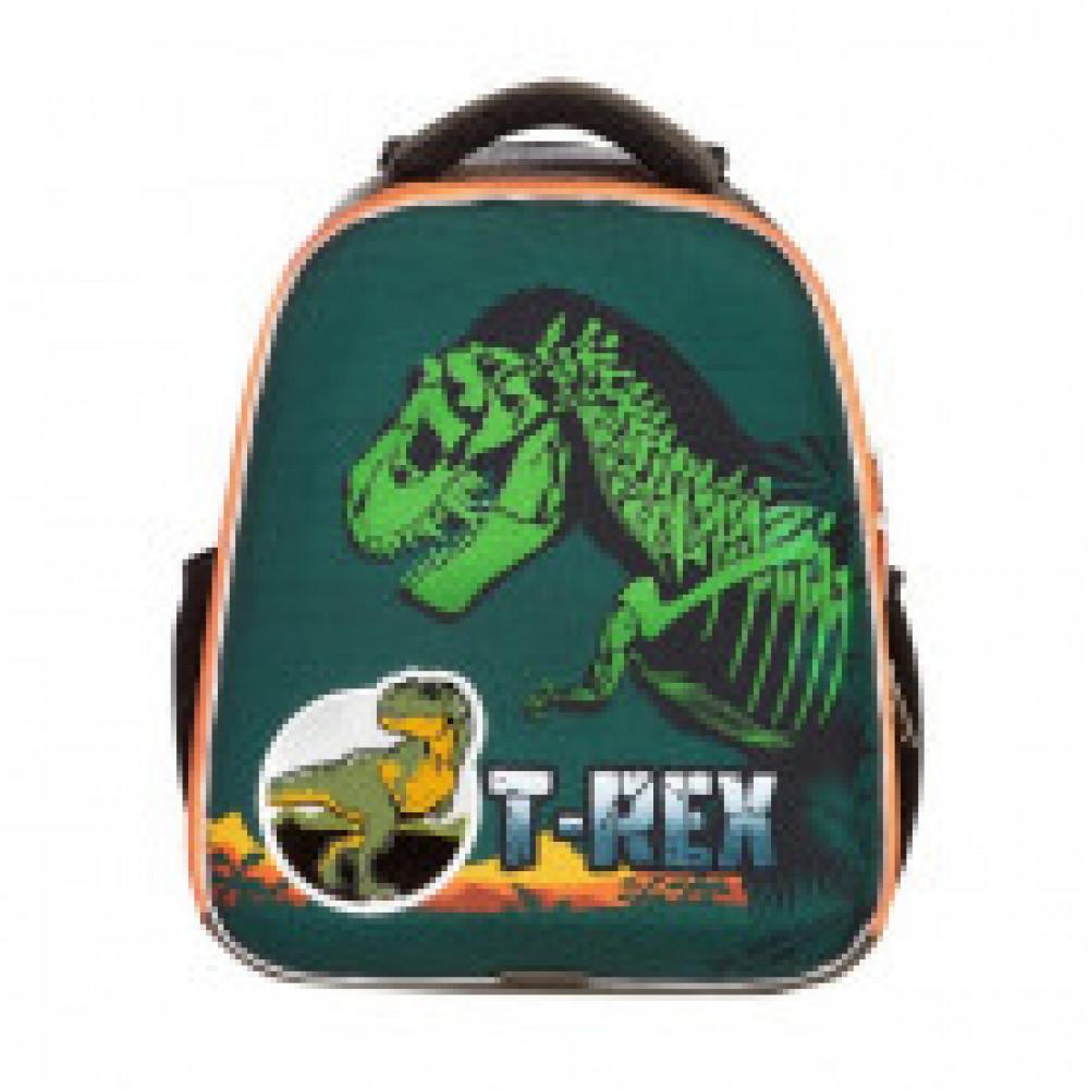 Ранец №1School Basic T-Rex, 2 отд., ортопед. Cпинка, светящийся кант