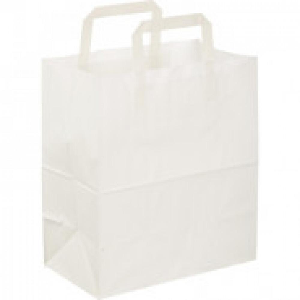 Пакет бум. крафт бел с плоской руч240x140x280мм(ECOCarrBagPLWHITE)300шт/уп